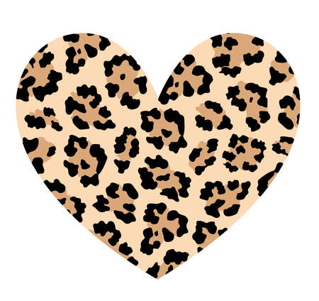 Leopard skin in heart shape. Trendy animal print. Fashion heart design. Vector illustration.