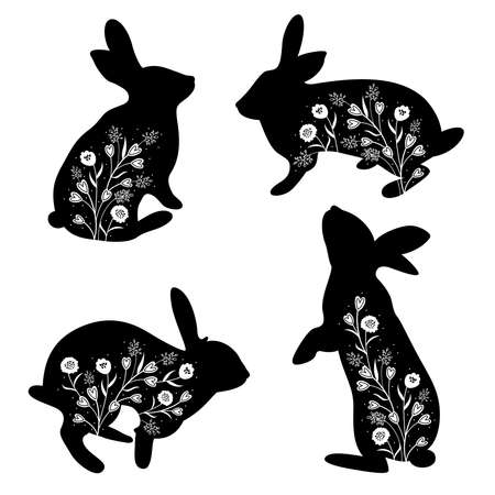 Silhouette rabbit with flower. Happy Easter vector illustration.