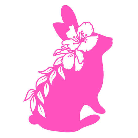 Cute rabbit with flower. Easter bunny, vector illustration.