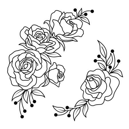 Hand drawn rose flower and leaves bunch. Vector line art monochrome elegant floral. Design for  t-shirt, tattoo, coloring page, wedding decoration. Illustration