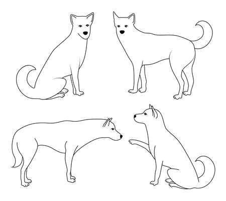 Line drawing dogs. Dog side view. Vector illustration