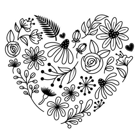 Flower in heart shape. Hand drawn style. Design element for scrapbooking, Invitations, greeting card, books and journals, decoupage, weddings, birthdays.