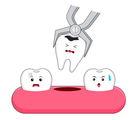 Tooth extraction, removal of tooth character. Dental care concept. Vector illustration. Illustration