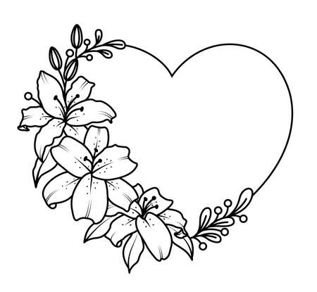 Lilies with heart shape. Flowers outline, vector illustration.