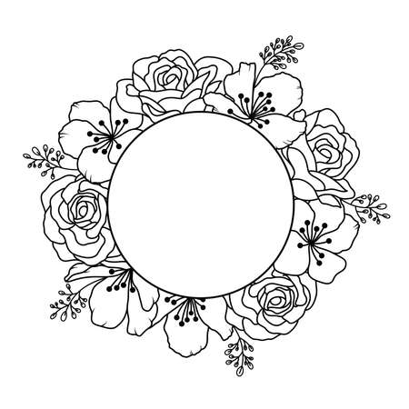 Roses and cherry blossom around circle. Flowers outline, vector illustration.