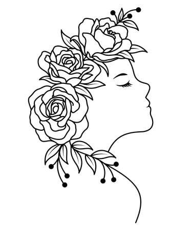 Female face line art with roses flowers. Outline drawing  design. Vector illustration. Illustration