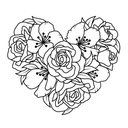Floral heart, Bouquet composition with hand drawn flowers. Outline style, vector illustration. Illustration