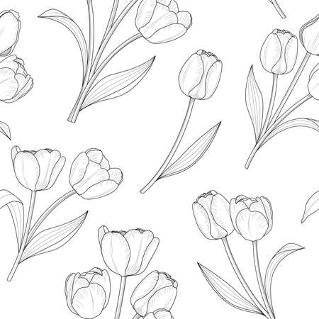 Outline tulip seamless pateern, vector illustration. Endless texture for easter and spring design, greeting card, fabrics, poster.