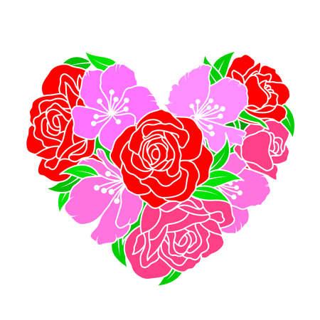 Flowers in heart shape. Roses and cherry blossom design. Vector illustration.