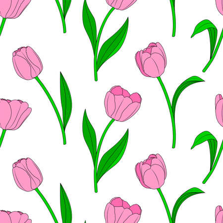Pink tulip seamless pateern, vector illustration. Endless texture for easter and spring design, greeting card, fabrics, poster. Illustration