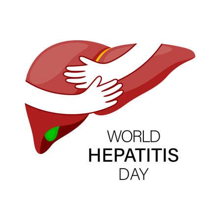 Hands embrace human liver. World hepatitis day. Health care concept. Vector illustration.
