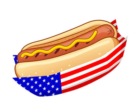 the Independence day hotdog. Vector illustration. Hotdog with american flag.