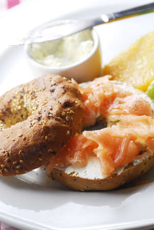 Bagel with salmon Stock Photo