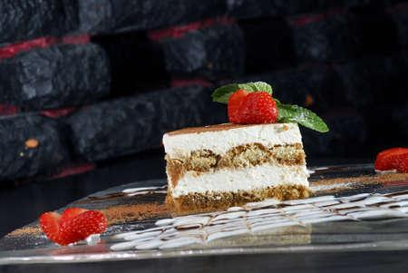 Italian cheese dessert with strawberry Stock Photo