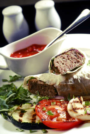 kebab with grilled vegetables Stock Photo