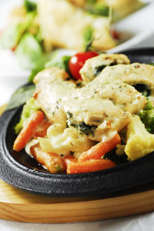 baked chicken with molten cheese