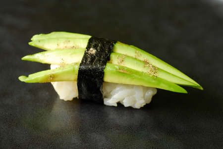 Sushi with rice and avocado