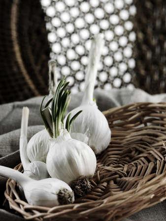 Five garlics in wicker plate