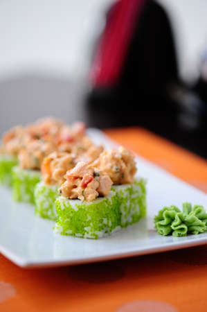 Japanese sushi with wasabi on the plate Stock Photo