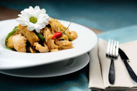 Thai noodles with chicken and chili pepper Stock Photo