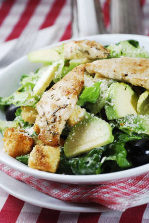 Caesar salad with chicken and lettuce