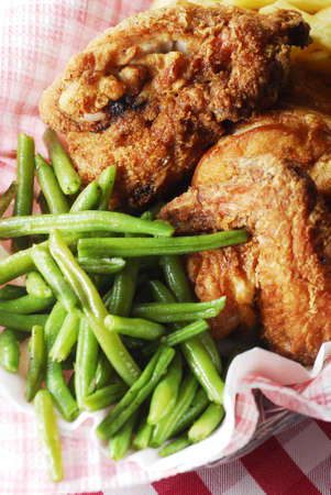 Green beans and fried chicken