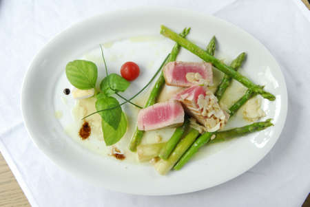 grilled tuna with asparagus Stock Photo