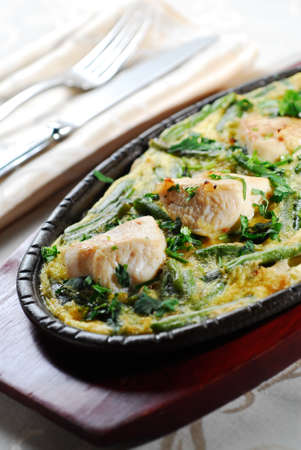 Chicken, baked with cheese Stock Photo