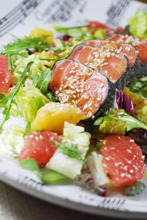 Salad with salmon Stock Photo