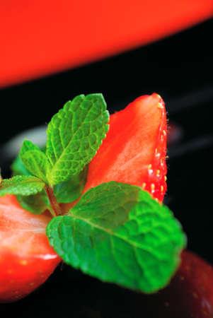 halved strawberry