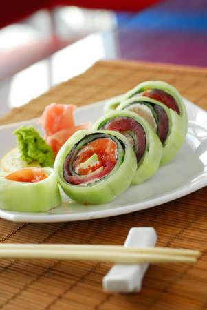 Japanese restaurant sushi with sticks Stock Photo