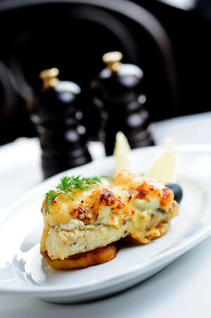 fried fish with cheese Stock Photo
