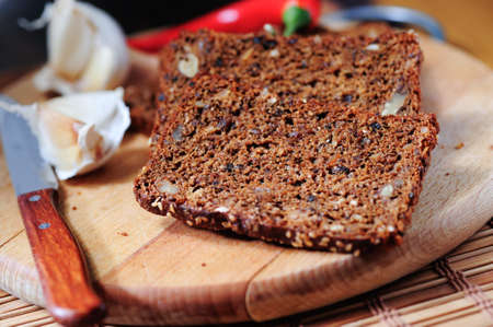 cereal bread with garlic and pepper Stock Photo