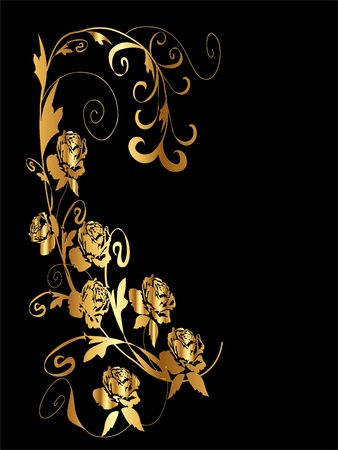 Gold Floral with Roses Vector