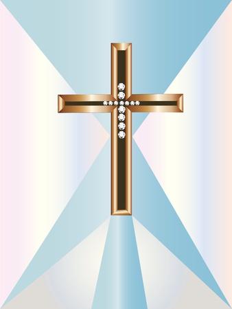 Kruisbeeld met diamanten en goud Stock Illustratie