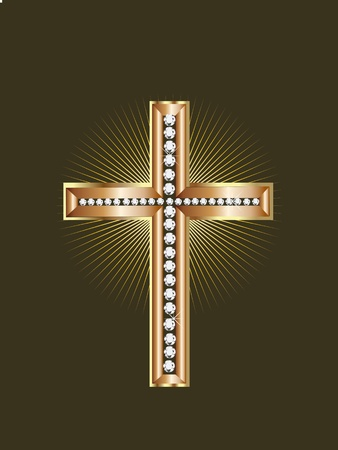 Gold Jewelry Cross  Vector