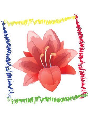 Red flower art frame Vector