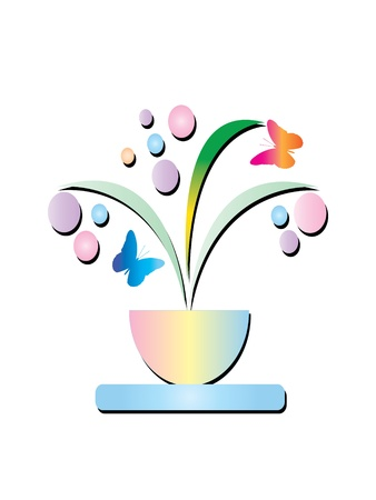 Flowers leaves and butterflies Stock Vector - 10346172