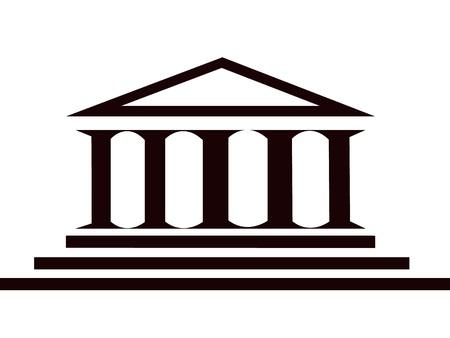 derecho romano: Antiguo edificio hist�rico griego de columnas  Vectores