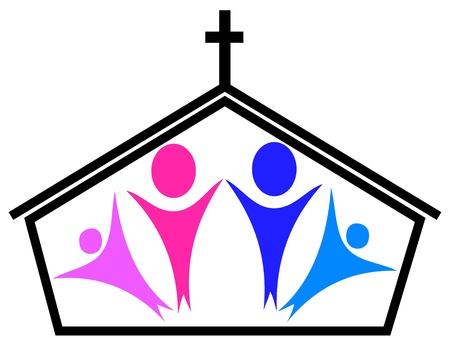 教会と家族  イラスト・ベクター素材