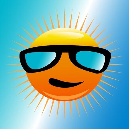 해변에서 선글라스와 태양 일러스트