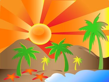 Sun, palms, mountains, beach background Stock Vector - 10455822