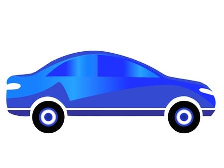 青い車のスポーツのロゴの設計  イラスト・ベクター素材