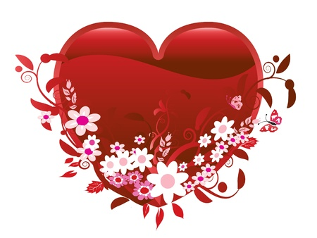 Heart and flowers Valentine Vector