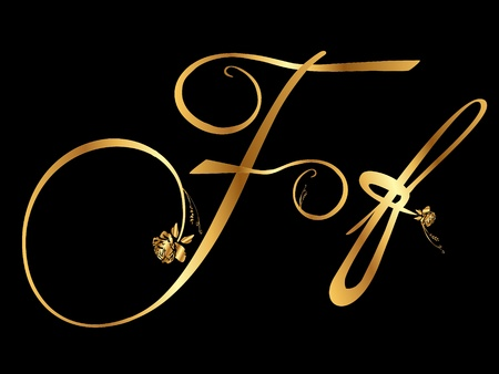 Golden letter F with roses