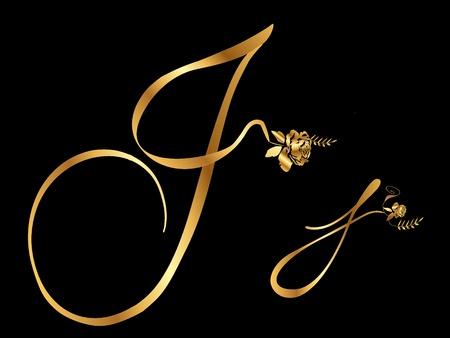 letter j: Golden letter J with roses