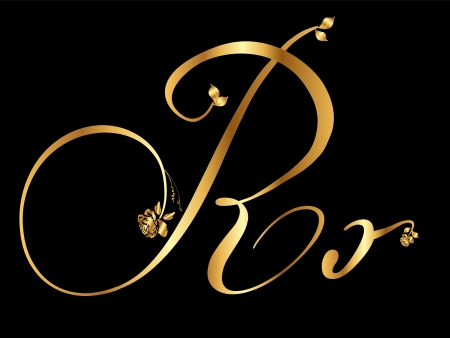 type lettering: Golden letter R with roses