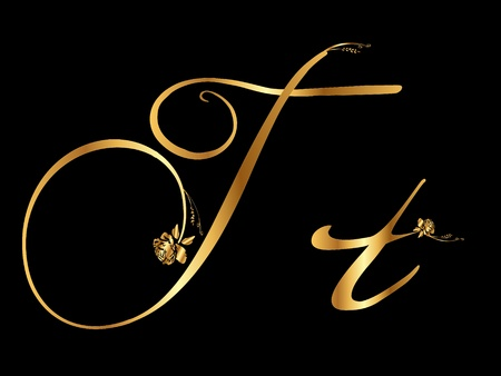Golden letter T with roses Illustration