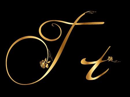 Golden letter T with roses Vettoriali