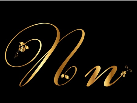 Golden letter N with roses Vector